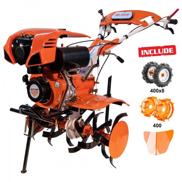 Motosapatoare RURIS 651KSD + roti cauciuc 4.00-8 + rarita + roti metalice 400 fara manicot