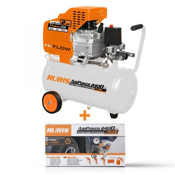 Pachet compresor aer si kit accesorii RURIS AirPower 2400PLUS
