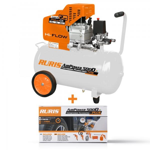 Pachet compresor aer si kit accesorii RURIS AirPower 5000 PLUS